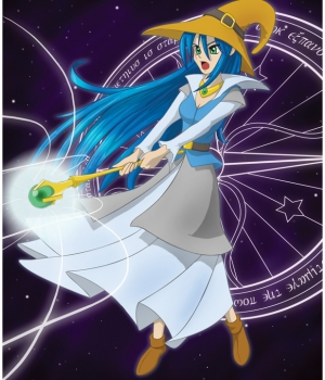 blue haired witch girl in a long purple dress with a coned hat using light magic on a starry background