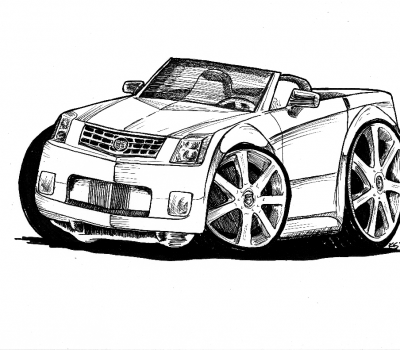 ink drawing of cadillac xts convertible