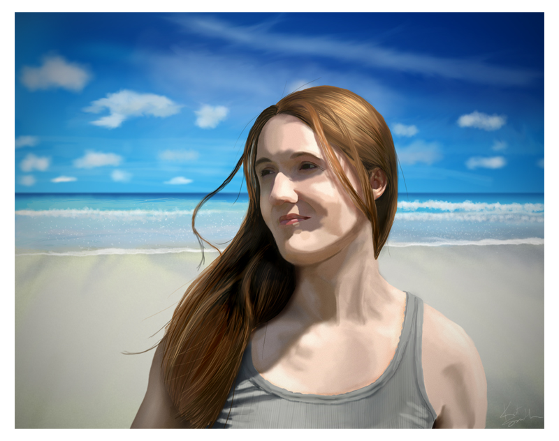 digital painting self portrait woman at beach
