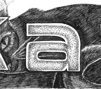 ink drawing of black cat with name Kat for use as nameplate