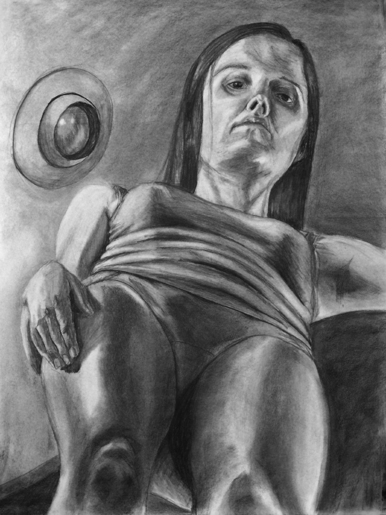 graphite self portrait foreshortened creepy woman