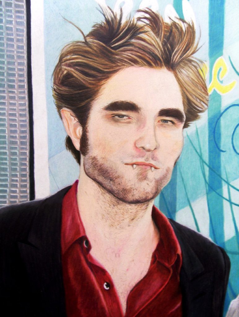 Colored pencil rendering of a distorted Robert Pattinson