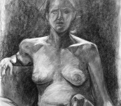 charcoal rendering light value nude woman dark background